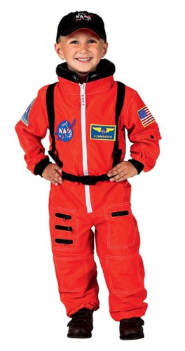 Aeromax Jr. Astronaut Suit with Embroidered Cap, Size 8/10 Orange