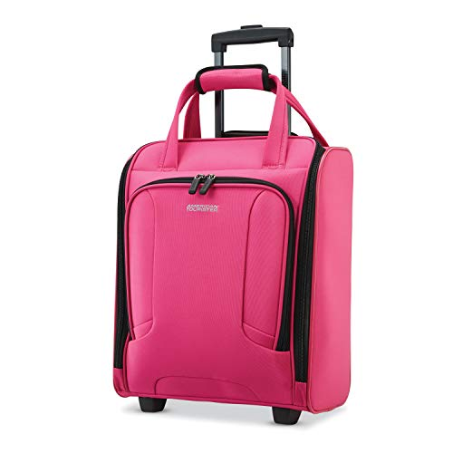 American Tourister 4 Kix Expandable Softside Luggage with Spinner Wheels, Pink, Underseater