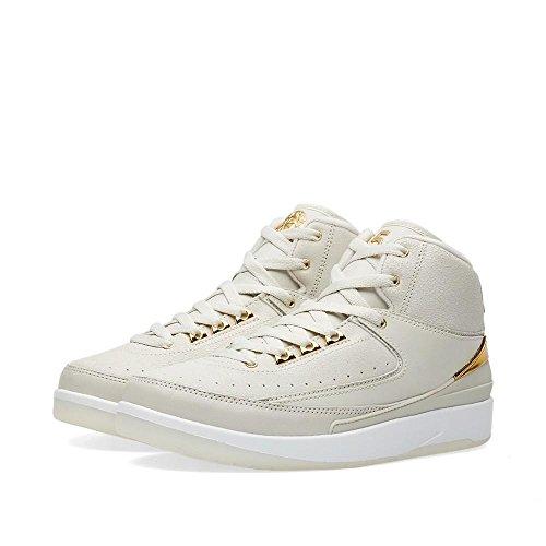 Nike Air Jordan 2 Retro Q54 BG Basketballschuhe, Blanco (Light Bone/Metallic Gold-White), 36 EU
