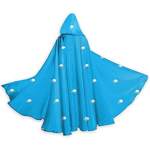Nood-toepasbare capuchon, lange cape, cape met capuchon, losse omhanging, cape kostuum, blauwe kwallen-vampier-omhanging, feest-/kerstkostuum