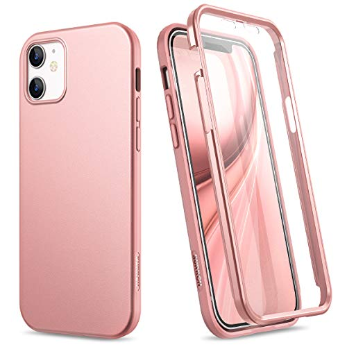 SURITCH Compatible with iPhone 12 Mini Case 2020, [Built-in Screen Protector] Full-Body Protection Shockproof Rugged Bumper Soft Silicone Slim Protective Cover for iPhone 12 Mini 5.4 Inch (Rose Gold)