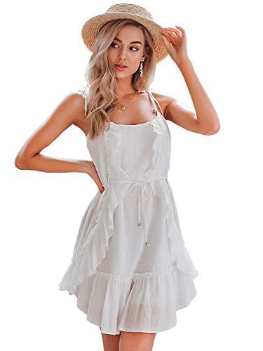 Miessial Women's Cotton Embroidery Summer Short Dress Spaghetti Strap Up Cute Ruffle Mini Dress White 10