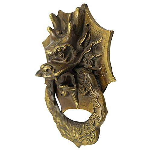 L.BAN Klopfer Antik Messing Gold Drachentür/Tor, Metall Haustürgriffe Zugknopf, Außen Innen (Größe: S)