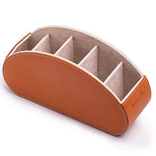 Ruoyu-EU - Caja de almacenamiento creativa de varios compartimentos para almacenamiento de escritorio, caja de almacenamiento de cosméticos, caja de almacenamiento de objetos pequeños (marrón)