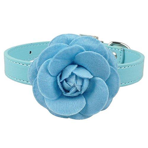 WWHPVP Collares de la casa de Perro de Cuero de PU, Lindo Collar con Flor para Perros pequeños Cachorro Rosa Rojo púrpura Azul Rosa de Cuello para 8-18',Blau,51cm