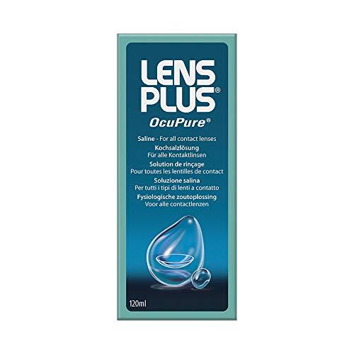 AMO Lens Plus OcuPure Saline – Sterile Kochsalzlösung zum Abspülen und Benetzen aller Kontaktlinsen – Ohne Konservierungsstoffe – 1 x 120 ml