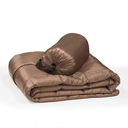 Blue Ridge Home Fashions Packable Oversized Down Throw with Slumber Pouch Gold Hypoallergenic, Outdoor