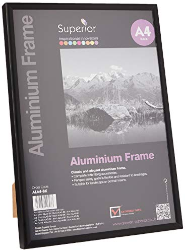 Stewart Superior A4 Brushed Aluminium Picture Frame with Perspex Safety...