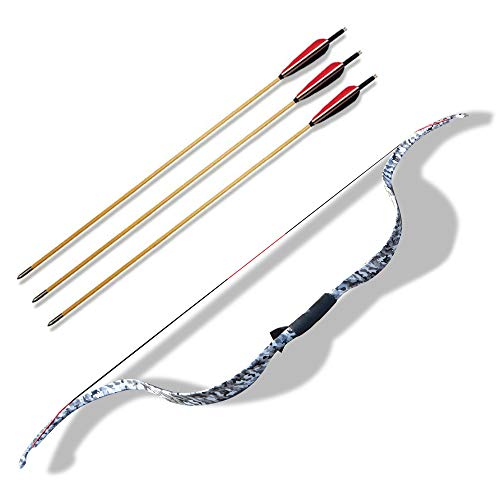SHARROW Bogenschießen Traditioneller Recurve Bogen Takedown 20lbs Holzbogen Langbögen Bogen und Pfeil Set mit 3er Pfeilen für Jugendliche Erwachsene Anfänger Jagdübungsspiel (Weiß+Pfeile)