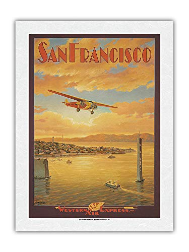 Pacifica Island Art San Francisco – Bridge della baia di Oakland, California – Western Air Express – Poster Viaggi di Kerne Erickson – Stampa artistica di carta Premium di riso Unryu 46 x 61 cm