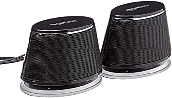 Amazon Basics USB Plug-n-Play Computer Speakers for PC or Laptop - 1 Pair (2 Speakers), Black with Blue LED Light