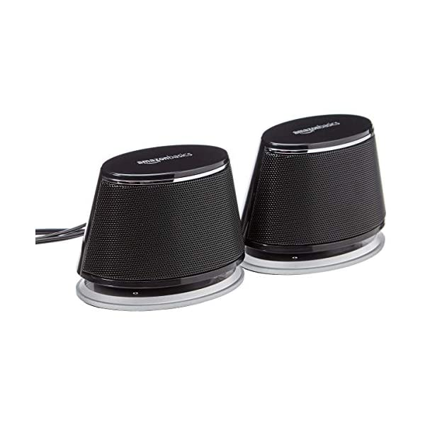 Amazon Basics USB Plug-n-Play Computer Speakers for PC or Laptop – 1 Pair (2 Speakers), Black with Blue LED Light
