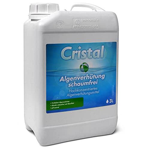 Cristal Algenverhütung Schaumfrei 3,0 l Algenmittel für Pool, Schwimmbad,Schwimmbecken, Whirlpool gegen grünes Wasser