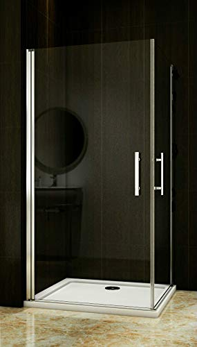 Duschkabine 90x90cm Duschabtrennung 2 Duschtür Drehtür Duschwand NANO Glas 195cm