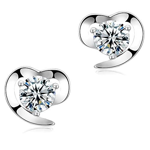 FIEKCOR pendientes plata de ley 925 'eterno amor' exquisita caja regalo