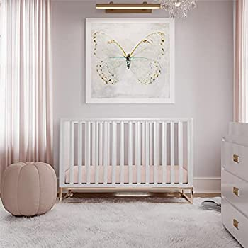 Little Seeds Haven 3 in 1 Convertible Wood Crib with Metal Base White with Gold Base