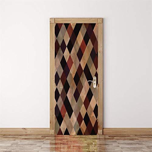Fantxzcy Adhesivos para puertas interiores Retro geométrico mosaico 95x215cm Pegatinas de puerta 3D para puertas interiores, pegatina de puerta impermeable, papel tapiz con efecto 3D, murales de brico