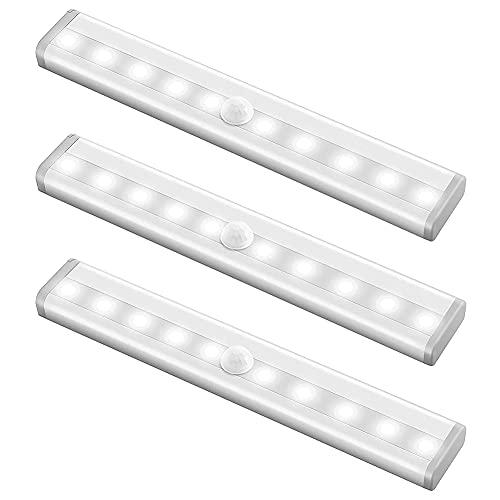 Coycoye 3 unidades de iluminación LED para armario, luz nocturna con sensor de movimiento, 10 LED sensor de movimiento de batería (sin batería)