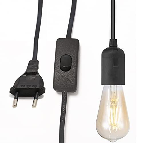 Casquillo con Enchufe y Cable Portalamparas E27 con Interruptor Se Utiliza para Colgar Candelabros Garajes Edificios Iluminación Temporal-2 negro