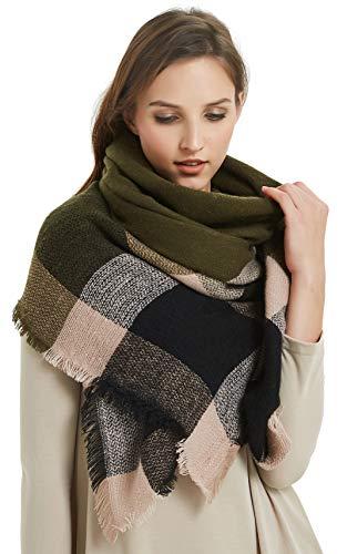VIVIAN & VINCENT Women's Plaid Blanket Winter Scarf Warm Wrap Oversized...