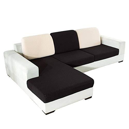 HALOUK Sofa Sitzkissenbezug,Sitzkissenschutz Weich Stretch Jacquard Sofakissen Schonbezug 1 Stück Sitzkissenbezug für Couch SitzKissen-Schwarz-3 Sitzer