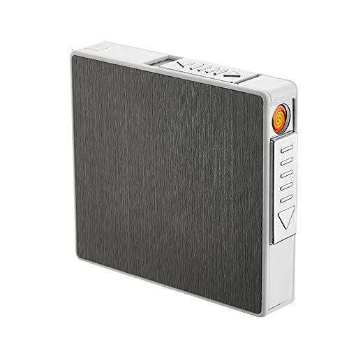 DXIA Zigarettenetui mit Feuerzeug Elektronisch, Aluminium Zigarettenbox, Elektronisches Integriertem Flammenlose Feuerzeug Aufladbar Zigarettenschachtel, für 20 Zigaretten, Winddicht
