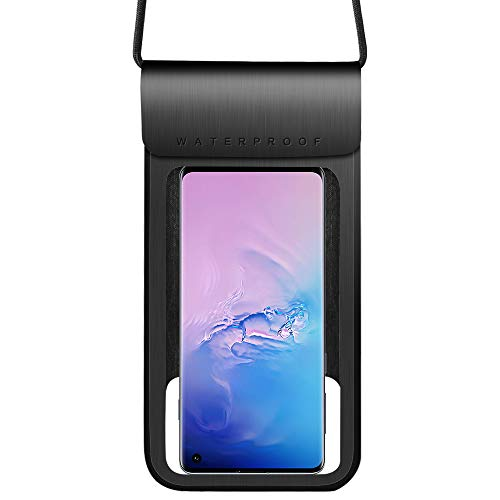 Waterproof Phone Case Universal Dry Bag Pouch Compatible for Samsung Galaxy S10+ S9+ / A20 A30 A50 M30 / A7 A8+ J8 / Nokia 7.2 / HTC U12 Life/OnePlus 7T / BlackBerry KEY2 / BLU Bold N1 (Black)