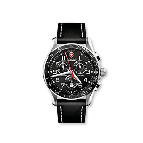 Victorinox 241444 - Reloj de Cuarzo para Hombre con Esfera analógica Negra y Correa de Piel Negra