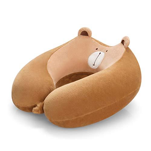 Cuscino da viaggio,1 pezzi Cuscino da collo in schiuma di memoria pura al 100%,morbida ed ergonomica,cuscino da viaggio per aereo contro della polvere,traspirante,lavabile,per viaggi,casa e ufficio