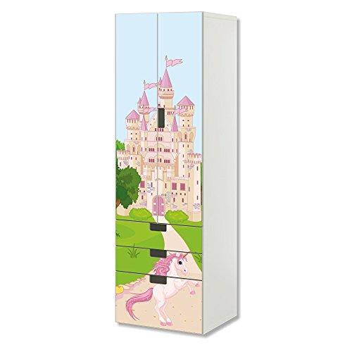 Einhorn Prinzessin Schloss | SC3K14 | passend für die Kinderzimmer Aufbewahrungskombination STUVA von IKEA | Klebe-Folie passgenau für Schrank und Kommode mit 3 Fächern | Möbel Nicht Inklusive