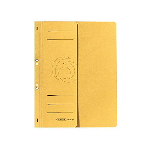Herlitz 10837326 Ösenhefter A4, kaufmännische Heftung, 1/2 Vorderdeckel, Karton, 50 Stück, gelb