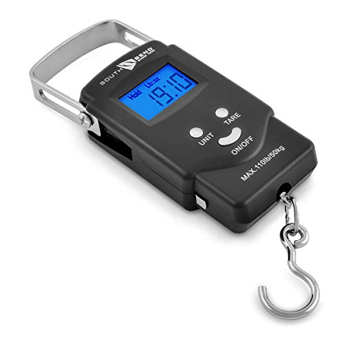 South Bend Digital Hanging Fishing Scale and Tape Measure with Backlit LCD Display, 110lb/50kg Weight Capacity (Batteries Included)