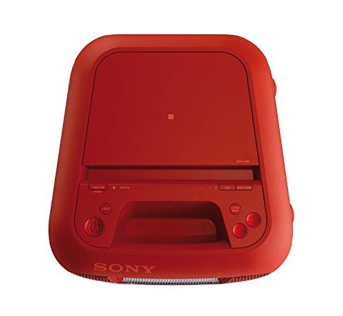 Sony GTK-XB5 One Box Party Soundsystem (200 W Ausgangsleistung, Extra Bass, Bluetooth, NFC, Licht und DJ-Effekte) Rot