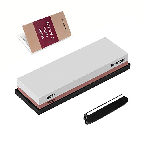 Professional Knife Sharpening Stone 3000/8000 Whetstone, Premium Knife Sharpener, Trilancer Waterstone, Angle Guide and User Manual Included