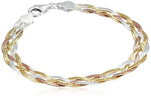 Sterling Silver Italian Tri-Color Four-Strand Braided Herringbone Chain Bracelet, 7.5