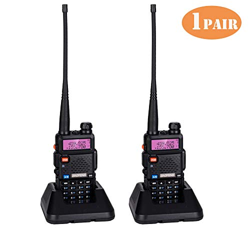 BF-F8HP Walkie Talkie,Dual Band 128 Channel VHF 136-174&UHF 400-520 MHz UHF UV-5R 5W Two-Way Radio Walkie Talkie W/Earpiece Range from 1.8 to 3.1 Miles,Li-ion Battery and USA Charger Included,1Pair