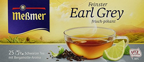 Meßmer Earl Grey (aromatisiert) | frisch-pikant | 25 Teebeutel | Vegan | Glutenfrei | Laktosefrei
