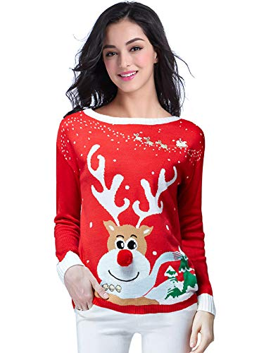 v28 Ugly Christmas Sweater for Women Vintage Funny Merry Tunic Knit Sweaters (S, Red)