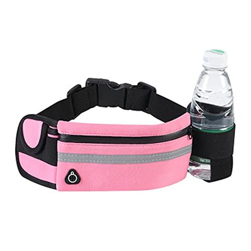 パックスポーツランニングベルトポーチバッグ、折りたたみ式ウォーターボトルホルダーのランニングベルトバッグ、男女性の屋外トレーニング,ピンク