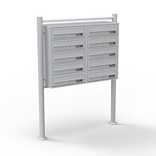 10er Briefkastenanlage silberfarben 2x5 Fächer Standbriefkasten Postfach Briefkasten Postkasten