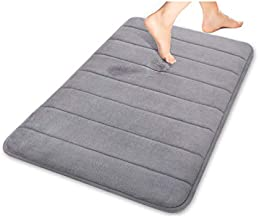 "Bath Mat Rugs Anti-slip Memory Foam Non-slip Bathroom Mat Soft Bathmat Water Absorbing Carpet 15.7"" X 23.6"" Gray"