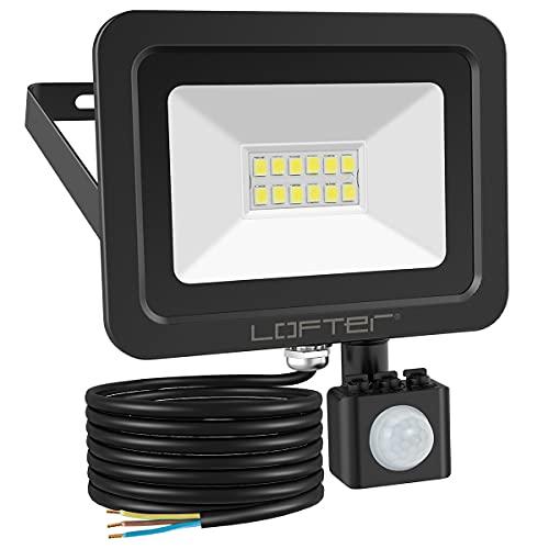 Motion Sensor Security Lights Outdoor, LOFTer 10W 800lumen Super Bright PIR Flood Light, IP65 Waterproof LED Security Lighting, Perfect for Garden, Backyard, Garage Back Door, 6000K Cold White