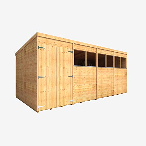 BillyOh Expert Tongue & Groove Wooden Shed, Workshop Shed with Pent Roof (Windowed, 16x8)
