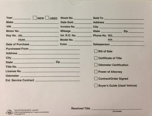 """A Plus Automotive Dealer Paper File Jackets White 12"""" x 9"""" Quantity 500 (P6)"""