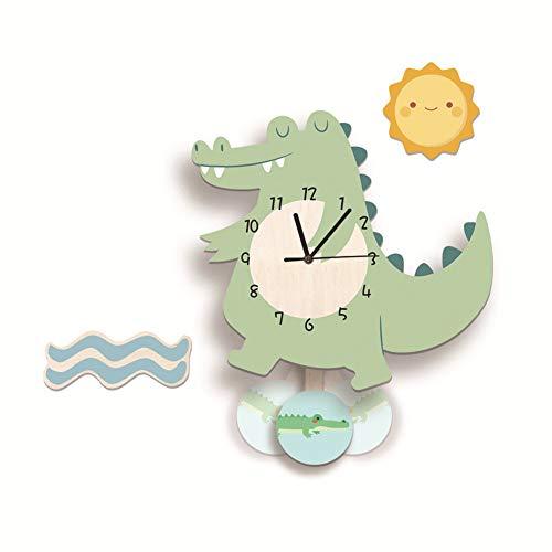 Nicole Knupfer Kinder Wanduhr, Krokodil-Wanduhr aus Holz, Uhr ohne Tickgeräusche, Lautlos Uhrwerk, Kinderuhr, Wanddeko für das Kinderzimmer