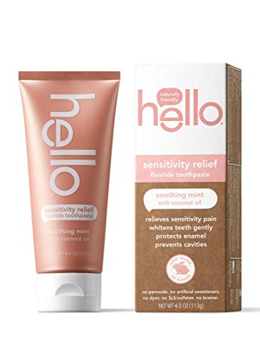 Hello Oral Care Sensitivity Relief Toothpaste for Sensitive Teeth with Fluoride + Coconut Oil Vegan SLS Free Whitening Oz, Soothing Mint, 4 Ounce