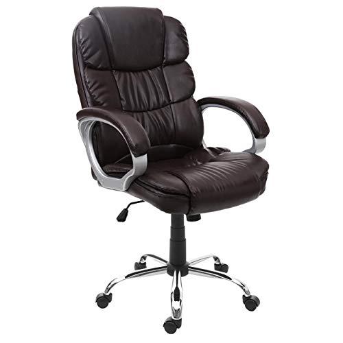 Mendler Bürostuhl HWC-G22, Schreibtischstuhl Drehstuhl Chefsessel, Kunstleder ~ braun