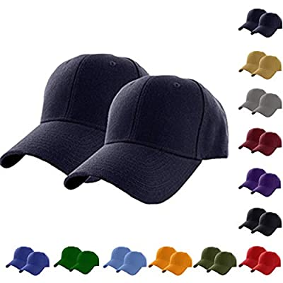 XBKPLO 2pcs Baseball Caps Classic 6-Panel Hat Adjustable Plain Caps Hats Polo Style Baseball Hats All Cotton Made Fits Men Women Low Profile Black Hats Unisex (12 Colours)
