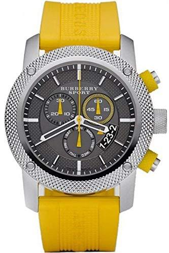 Burberry Sport-Chronograph BU7712 für Herren, Armbanduhr mit schwarzem Zifferblatt, gelbes Gummi-Armband