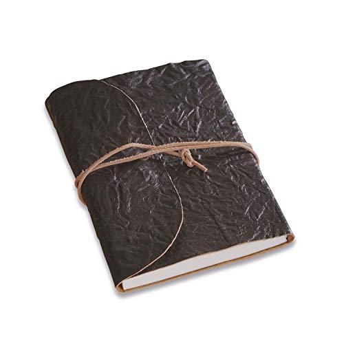Loberon Cosmes, notitieboek, rundleer, papier, h/b/d ca. 2/15 / 10 cm, zwart